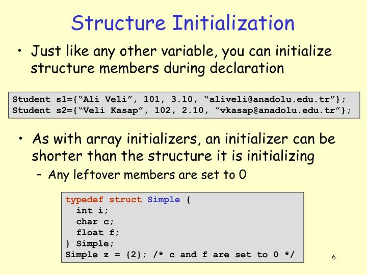 Structure Initialization