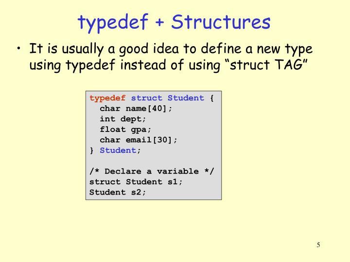 typedef + Structures