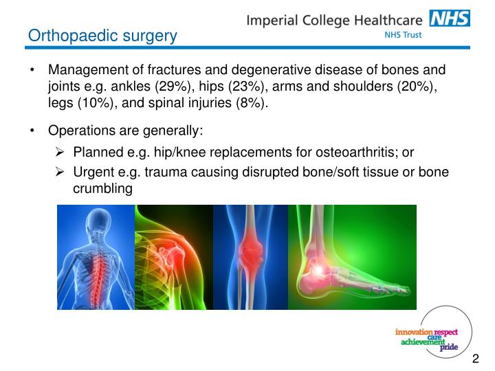 Management of fractures and degenerative disease of bones and joints e.g. ankles (29%), hips (23%), arms and shoulders (20%), legs (10%), and spinal injuries (8%).
