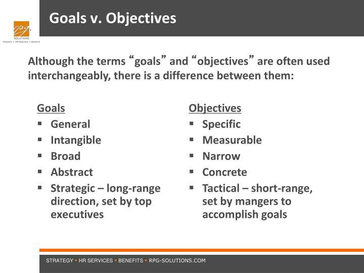 Goals v. Objectives