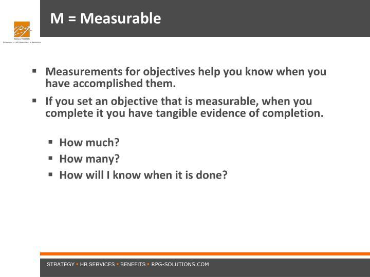 M = Measurable