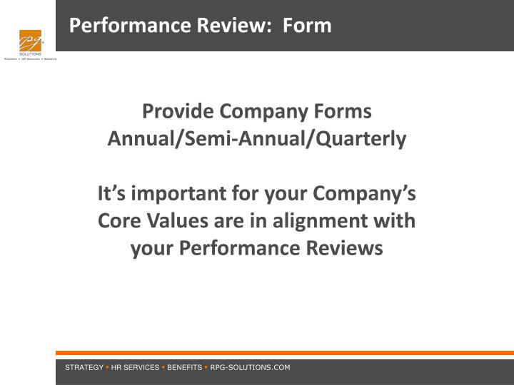 Performance Review:  Form