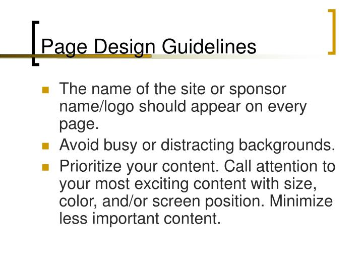 Page Design Guidelines
