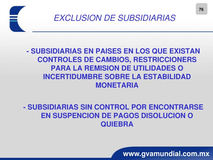 EXCLUSION DE SUBSIDIARIAS