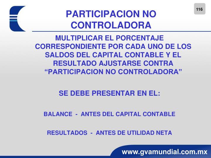 PARTICIPACION NO CONTROLADORA