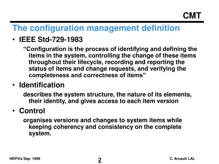 The configuration management definition
