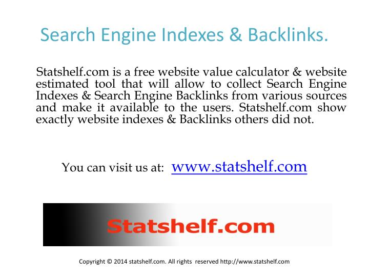 Search engine indexes backlinks