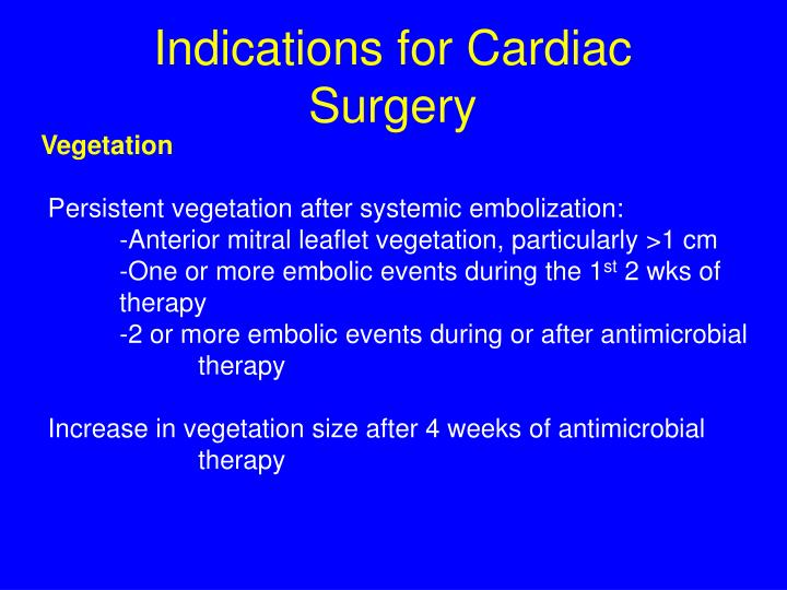 Indications for Cardiac Surgery