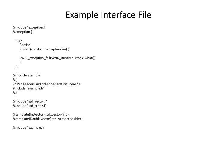 Example Interface File