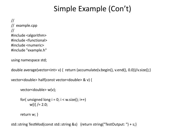 Simple Example (Con't)