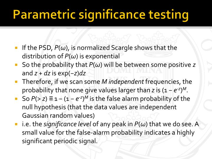 Parametric significance testing