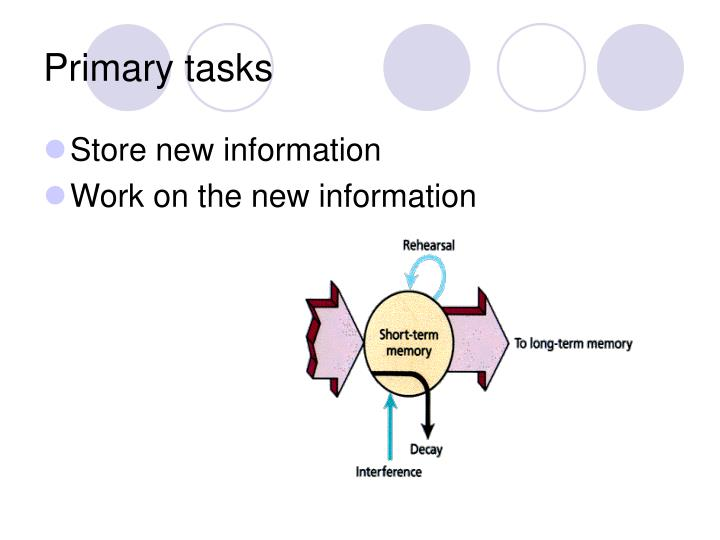 Primary tasks