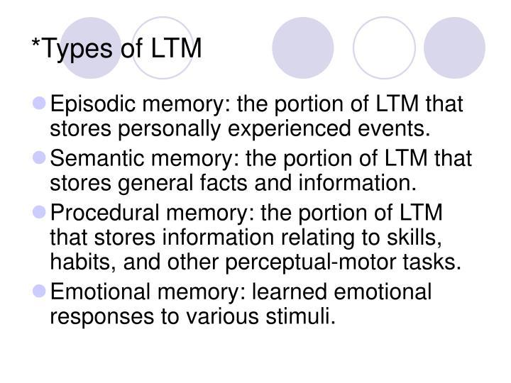 *Types of LTM