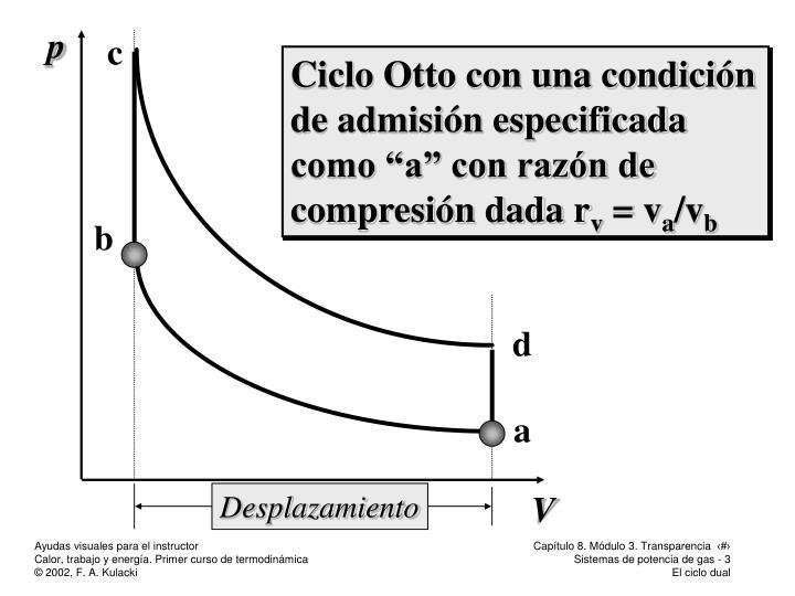 """Ciclo Otto con una condición de admisión especificada como """"a"""" con razón de compresión dada r"""
