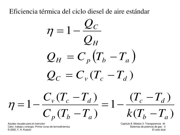 Eficiencia térmica del ciclo diesel de aire estándar