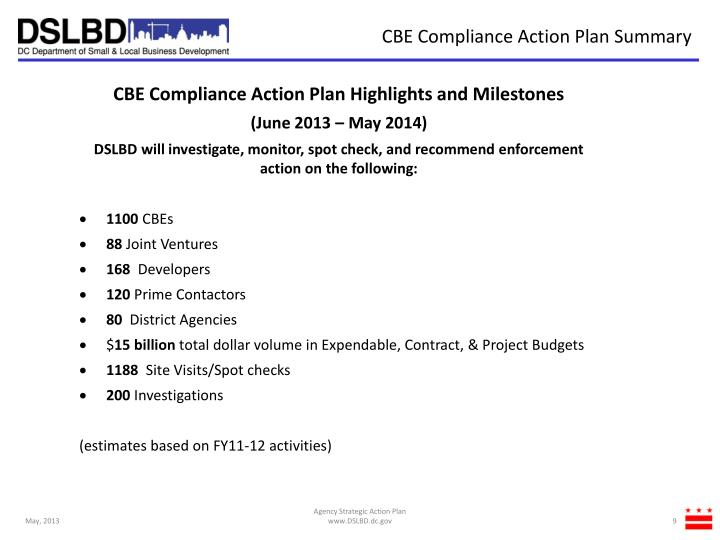 CBE Compliance Action Plan Summary