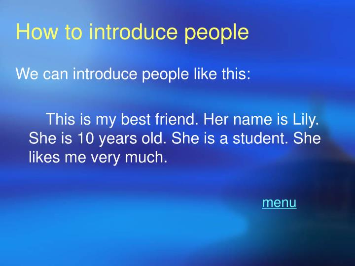 How to introduce people