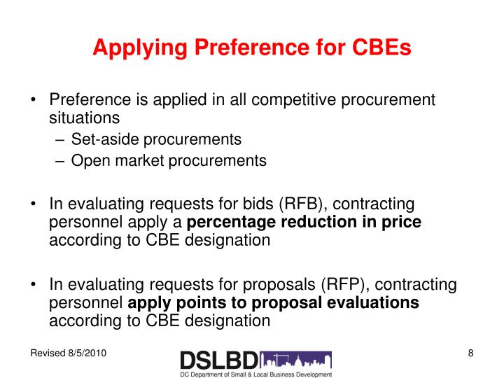 Applying Preference for CBEs