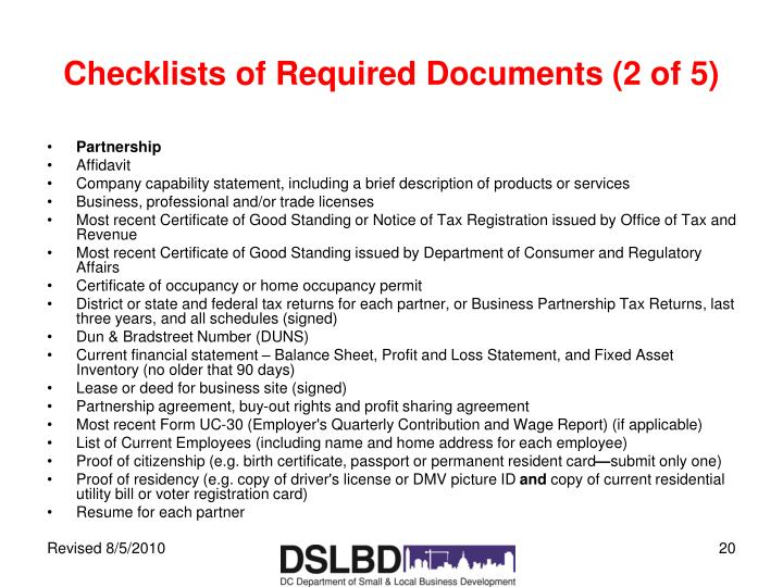Checklists of Required Documents (2 of 5)