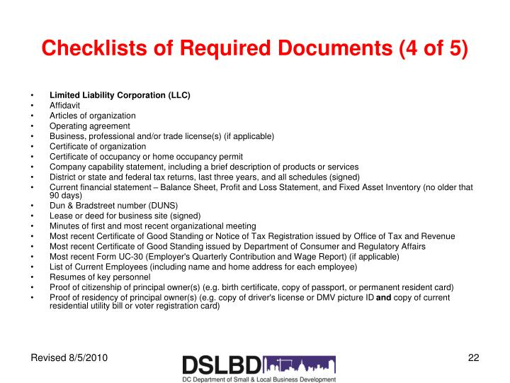 Checklists of Required Documents (4 of 5)
