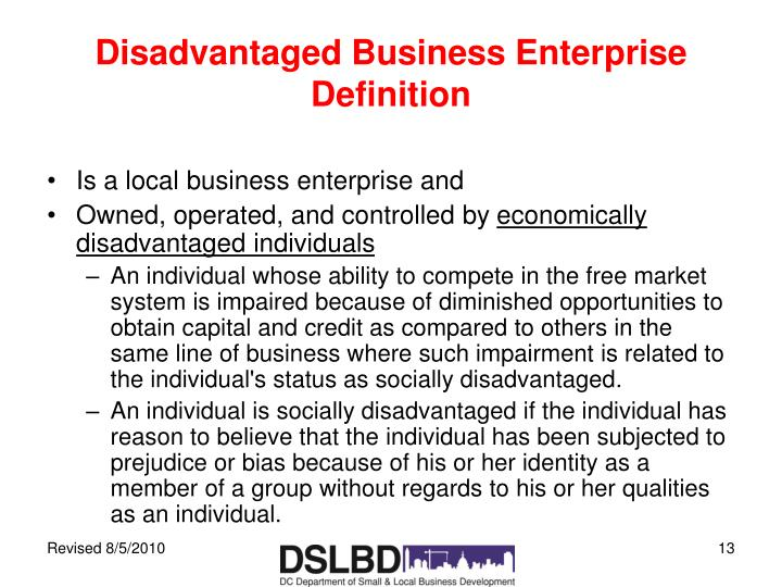 Disadvantaged Business Enterprise Definition