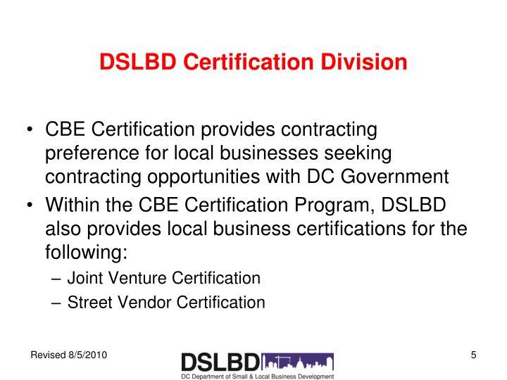 DSLBD Certification Division