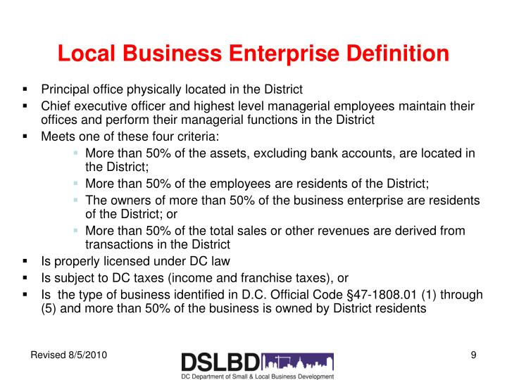Local Business Enterprise Definition