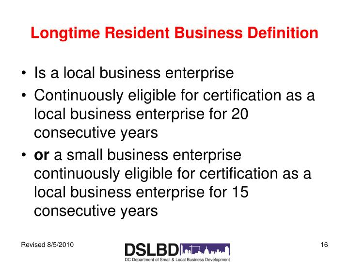 Longtime Resident Business Definition
