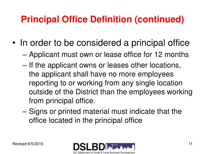 Principal Office Definition (continued)