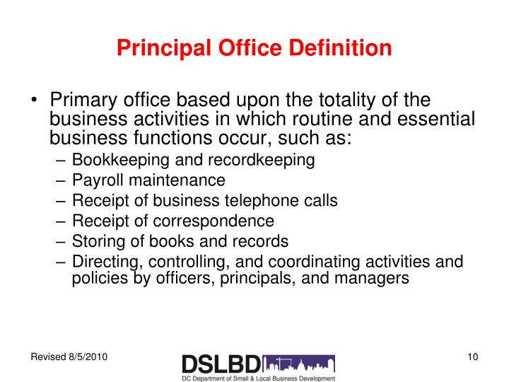 Principal Office Definition