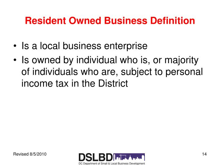 Resident Owned Business Definition
