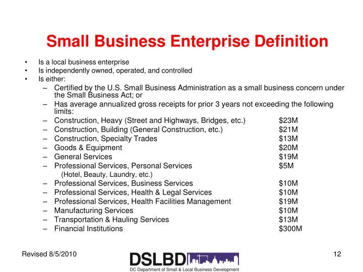 Small Business Enterprise Definition
