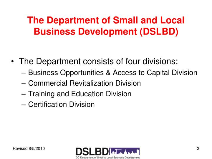 The department of small and local business development dslbd