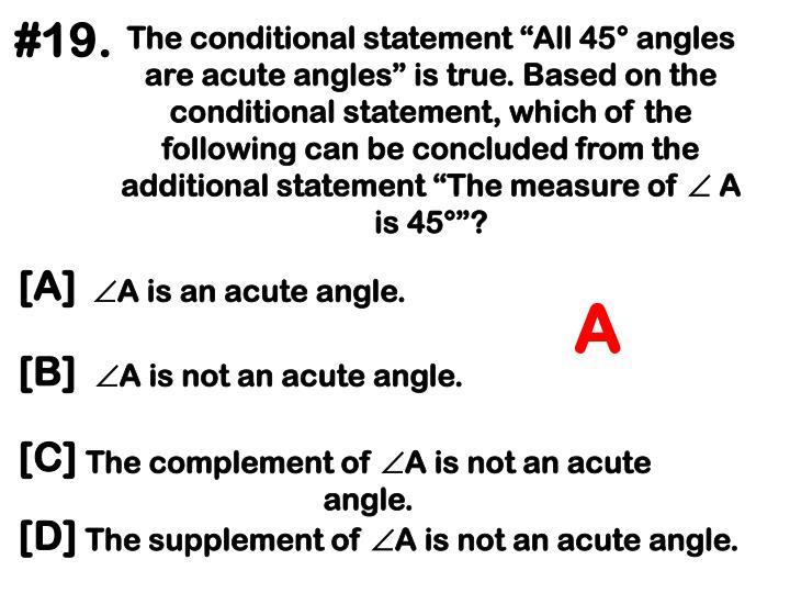 A is an acute angle.