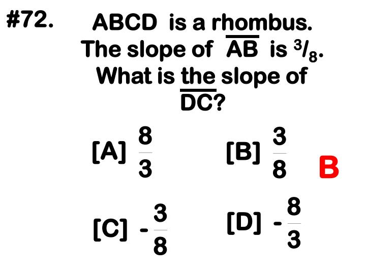ABCD  is a rhombus.  The slope of  AB  is