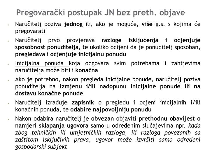Pregovarački postupak JN bez preth. objave