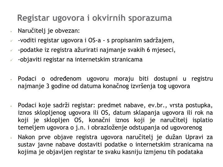 Registar ugovora i okvirnih sporazuma