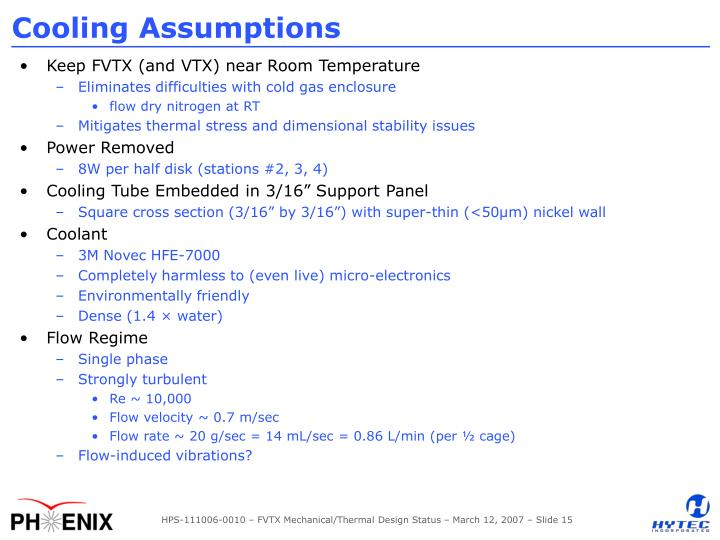 Cooling Assumptions