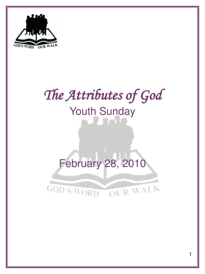 the attributes of god youth sunday