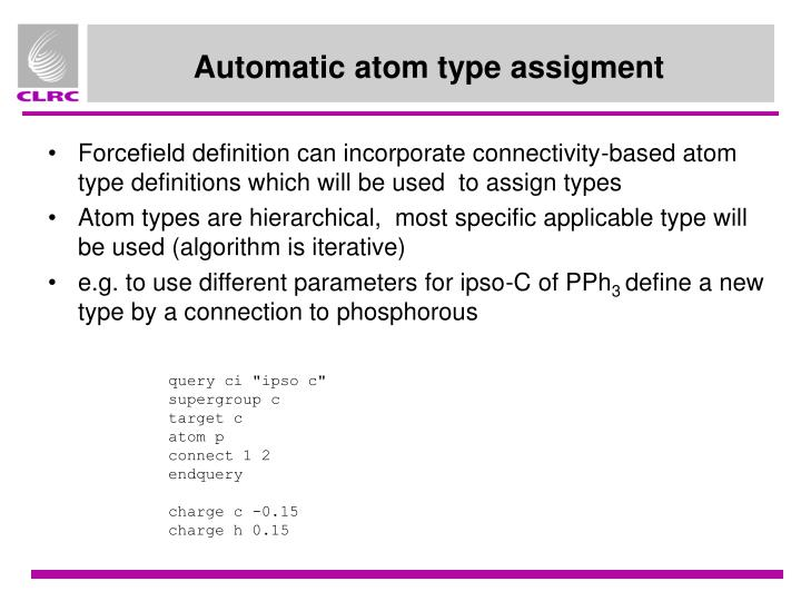 Automatic atom type assigment