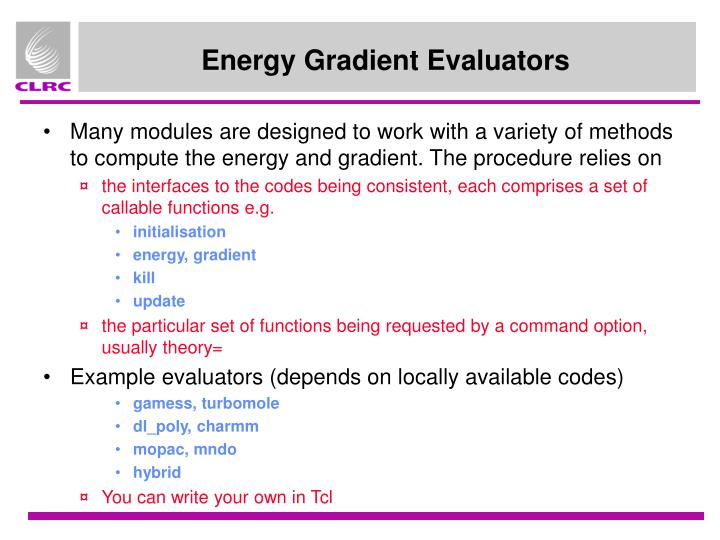 Energy Gradient Evaluators