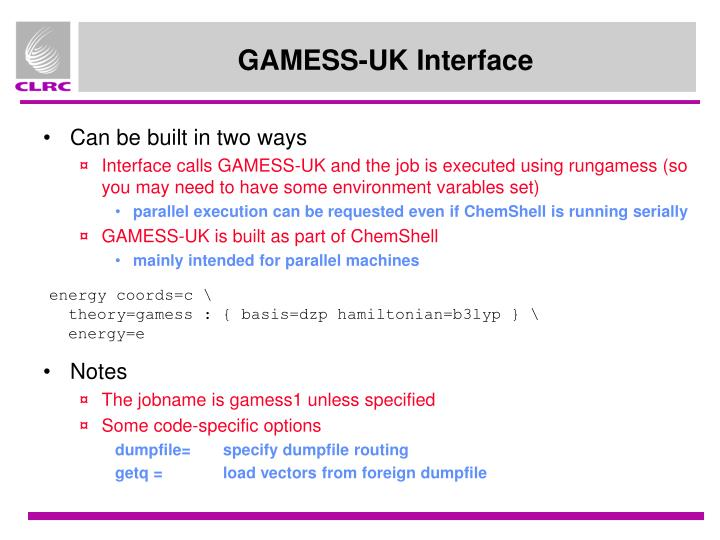 GAMESS-UK Interface