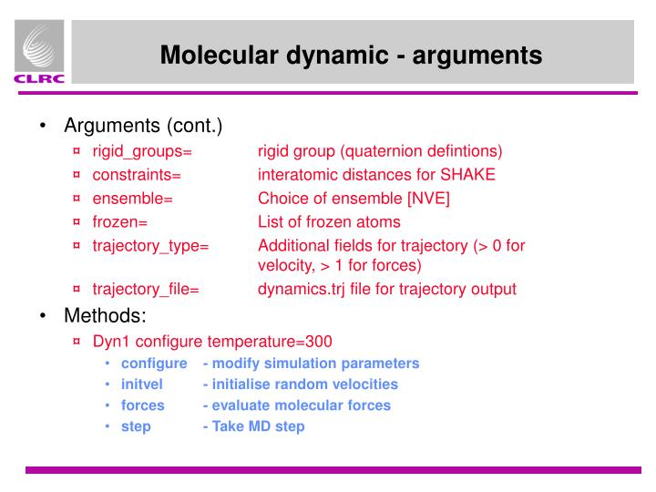 Molecular dynamic - arguments