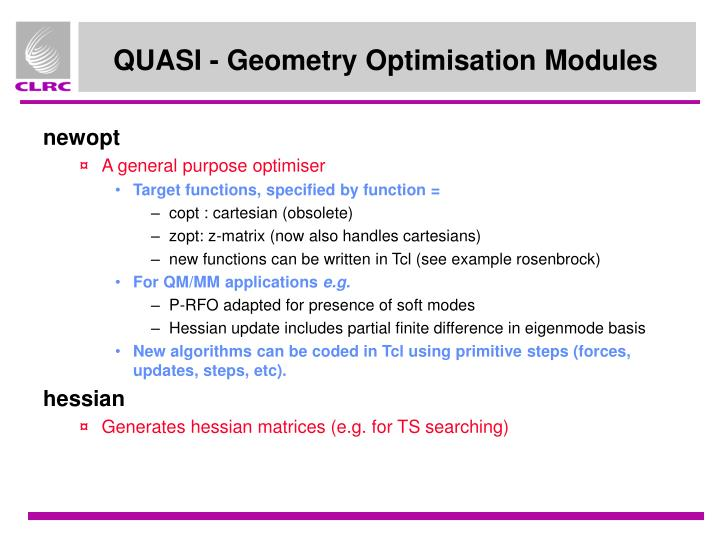 QUASI - Geometry Optimisation Modules