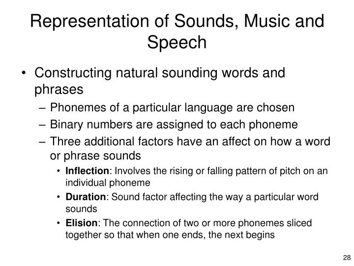 Representation of Sounds, Music and Speech