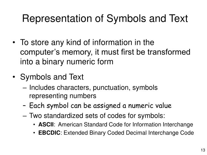 Representation of Symbols and Text