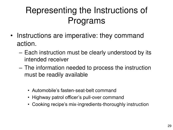 Representing the Instructions of Programs