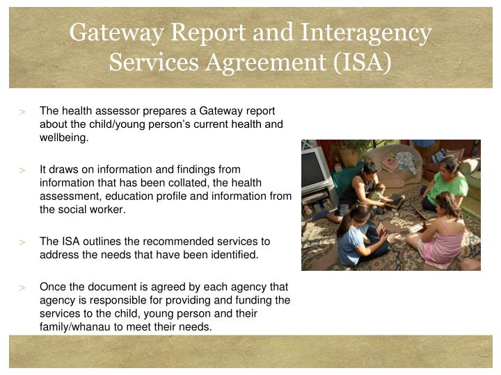 Gateway Report and Interagency Services Agreement (ISA)
