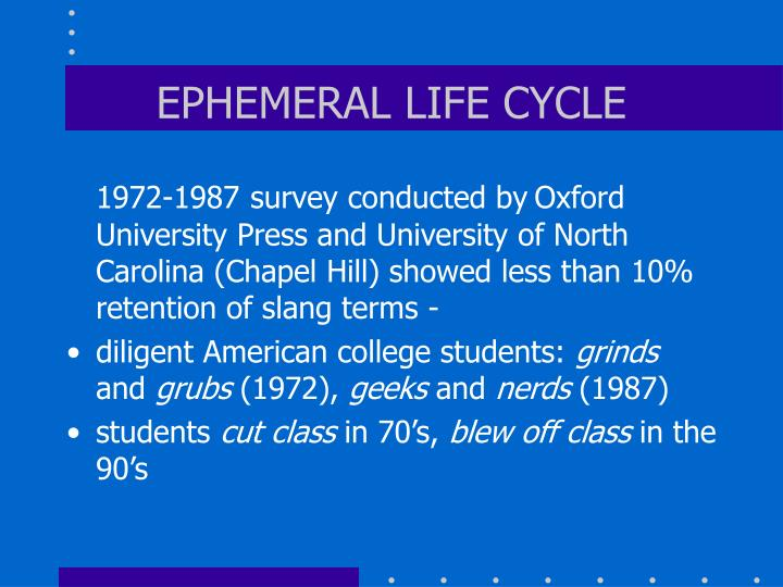 EPHEMERAL LIFE CYCLE