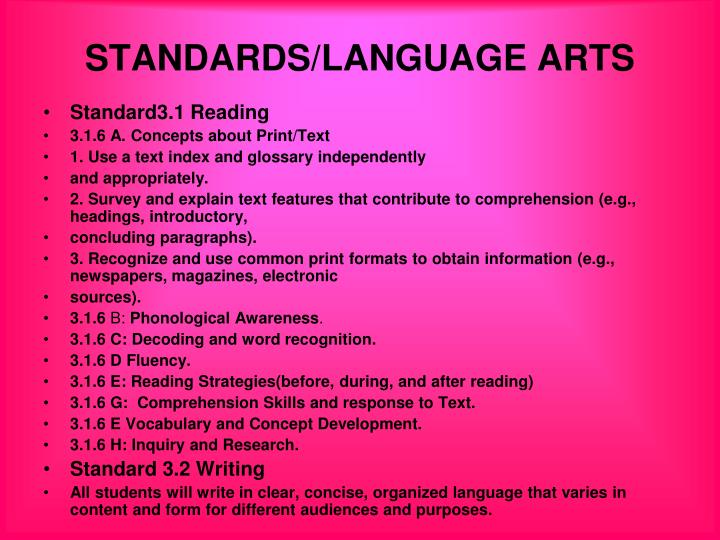 STANDARDS/LANGUAGE ARTS